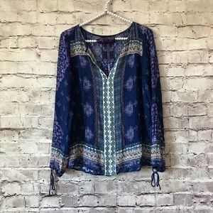 Lucky Brand XS Blue Boho Floral Printed Blouse